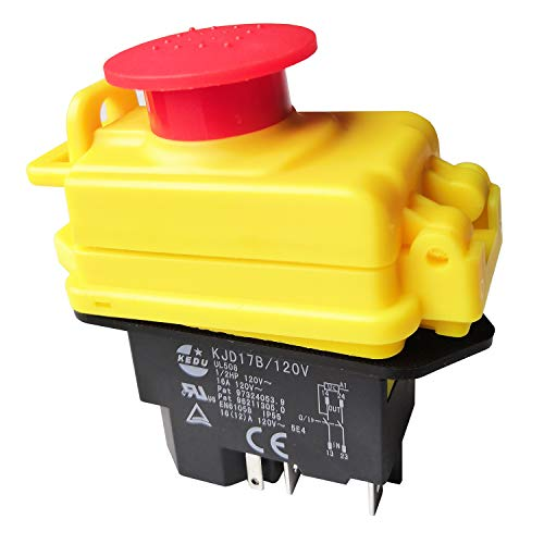 KJD17B/120V 5Pin Waterproof Electromagnetic Pushbutton Switches KEDU Industrial Push Button Switch with Emergency Stop Cover