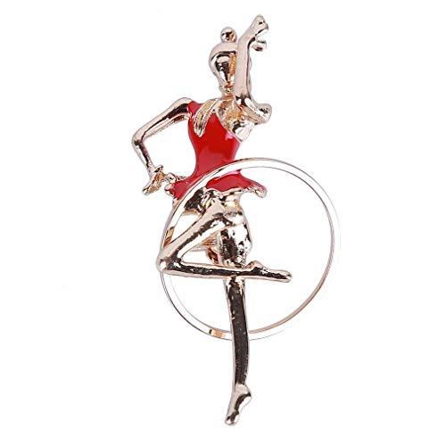 Fliyeong Broche de gimnasia rítmica, broche de pasamontañas para niña bailando con aceite, ramillete de regalo práctico para mujer, color rojo