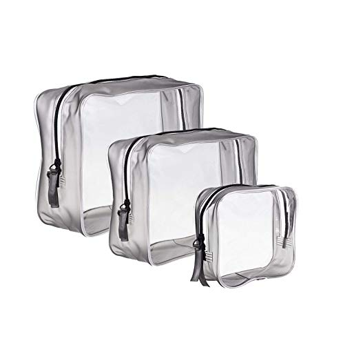 3 Piezas Bolsa Aseo Transparente Neceser PVC Impermeable