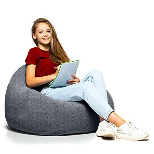 Puff de Salon Moderno de Diseño - Puf Gigante XXL con Relleno Incluido para Decoracion Habitacion Juvenil - Bean Bag Gamer, Infantiles o Cojin de Suelo Grande Gris