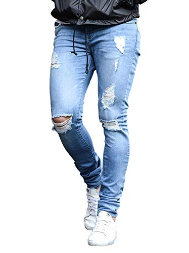 HUNGSON Men's Slim Fit Light Blue Ripped Jeans Destroyed Denim
