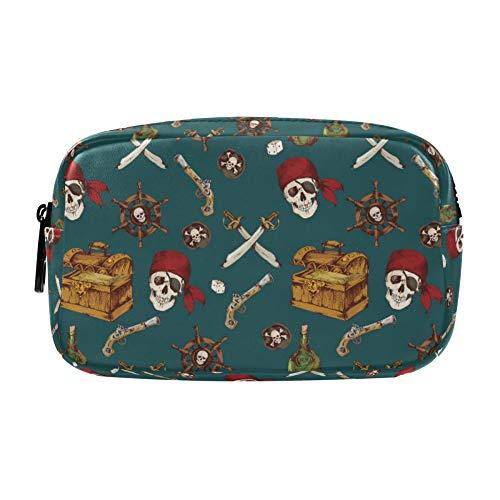 Kosmetiktaschen mit 2 Fächern, Piraten-Totenkopf-Ruder, Make-up-Organizer-Tasche, Kosmetiktasche, große Kapazität, wasserdichtes Federmäppchen für Damen, Frauen, Teenager-Mädchen