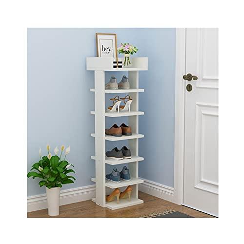 Zapatero de 6/7 niveles, organizador de zapatos, de madera, para entrada, pasillo, armario, sala de estar, zapatero (color blanco, tamaño: 113 cm, 7 niveles)