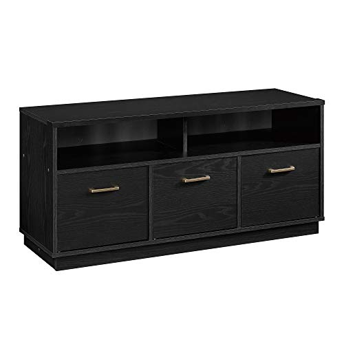 Mainstay 3-Door TV Stand Storage Cabinet Console for TVs up to 50u0022, True Black Oak Finish