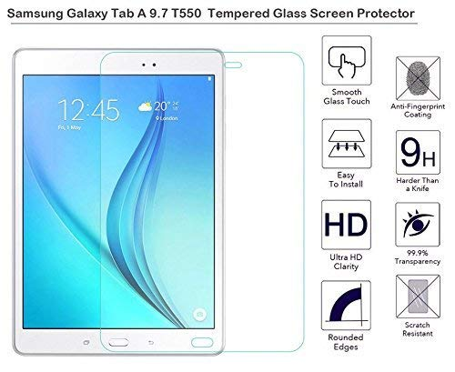 TECHSHIELD® Tablet Tempered Glass 2.5D Curved .3m Screen Protector [Edge to Edge] Compatible with Samsung Galaxy tab Samsung Galaxy Tab A [SM-T550/SM-T555] [9.7 inch] Tempered Glass Screen Protector[Edge to Edge] [Flexible]