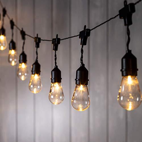 Lights4fun 15er LED Party Lichterkette warmweiß Timer Batteriebetrieb Innen- und Außen