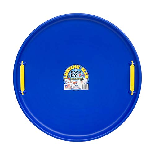 Back Bay Play Lifetime Downhill Saucer Disc - Snow Sled with Handles, for Kids and Adults - Durable Sleds for Winter Sledding Outdoors - Ages 5 and Up (Arctic Blue)