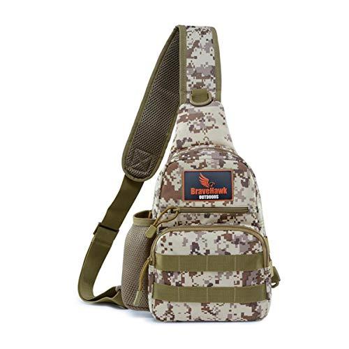 BraveHawk OUTDOORS Sling Chest Bag, 900D Nylon Tactical MOLLE Compact Crossbody Hiking Cycling Pack (Desert Digital)