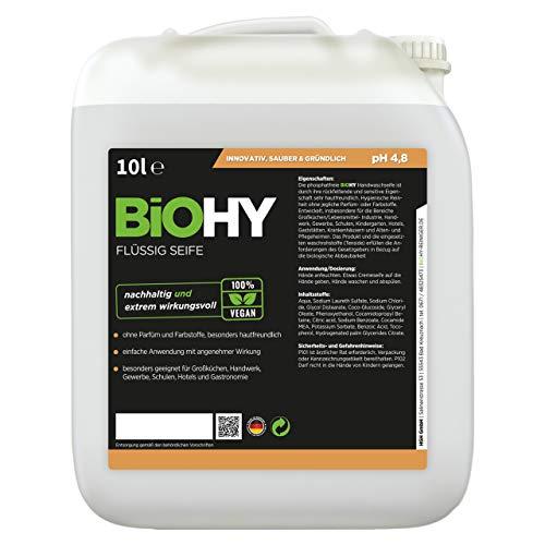 BIOHY Flüssig Seife 10 Liter Kanister - Geruchsneutrale, hautschonende und rückfettende flüssige Handseife | Nachfüller aus dem pflanzlichen Bereich | PHOSPHATFREI | Ohne Parfüm und Farbstoffe