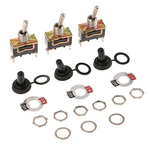 Harilla Interruptor de Palanca de Metal Resistente de 3 Piezas, Encendido/Apagado, Tablero de Coche con Tapa Impermeable