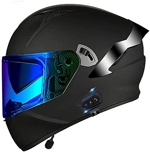 XWW Casco de Moto Bluetooth Casco de protección para ciclomotor de Motocicleta, Casco Certificado por Dot/ECE, Sistema de comunicación Integrado Mp3 Incorporado