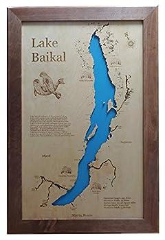 Lake Baikal Siberia  Framed Wood Map Wall Hanging