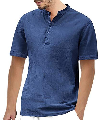 Gemijacka Hemd Herren Kurzarm Leinenhemd Herren Henley Freizeithemd Regular Fit Kragenloses Shirt, Dunkelblau, L