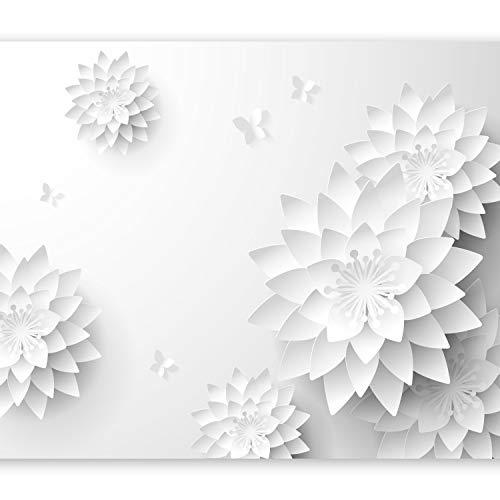 murando Fototapete Blumen 3D 350x256 cm Vlies Tapeten Wandtapete XXL Moderne Wanddeko Design Wand Dekoration Wohnzimmer Schlafzimmer Büro Flur Orient weiß grau p-B-0020-a-a