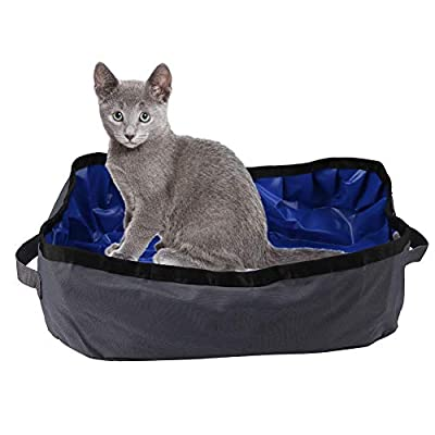 Yinuoday Foldable Cat Litter Box, Collapsible Cat Kitty Litter Pan Portable Cat Litter Tray Outdoor Waterproof Pet Litter Tray for Home Outdoor Travel Use