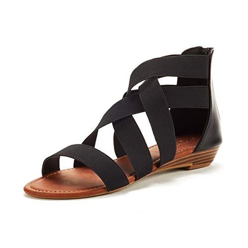 DREAM PAIRS Women s Elastica8 Black Elastic Ankle Strap Low Wedges Sandals Size 9 M US