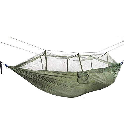 HUANXI LightweightSingleHammocks Outdoor Double with Storage Bag + Strap,300kg Load Capacity (260x140cm) Army Green Swing Outdoor for Backpacking and Thru-Hikes