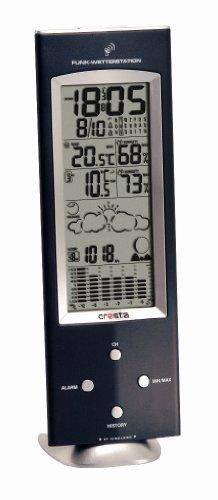 Cresta Wetterstation Barometer, Luftfeuchtigkeit, Funkuhr, Doppelte Weckfunktion, Mondphase, Sonnenaufgangs und Untergangszeit, Erweiterbar