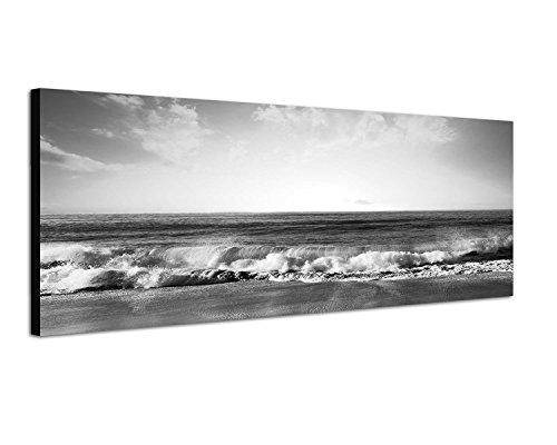 Augenblicke Wandbilder Keilrahmenbild Panoramabild SCHWARZ/Weiss 150x50cm Strand Meer Wellen Sonnenuntergang