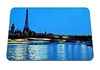 26cmx21cm マウスパッド (パリフランスエッフェルタワーブリッジ水青空イブニングライト夜の街) パターンカスタムの マウスパッド