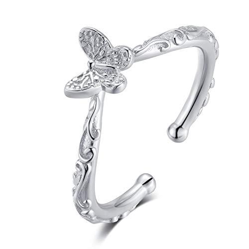 Qings Anillo de Mariposa para Niña, Anillo Mariposa, Anillo Ajustable Mujer, Anillos Abiertos de Mariposa