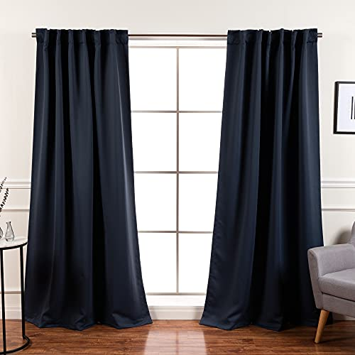 """Best Home Fashion Premium Blackout Curtain Panels - Solid Thermal Insulated Window Treatment Blackout Drapes for Bedroom - Back Tab & Rod Pocket (52"""" W x 63"""" L, BO Navy)"""