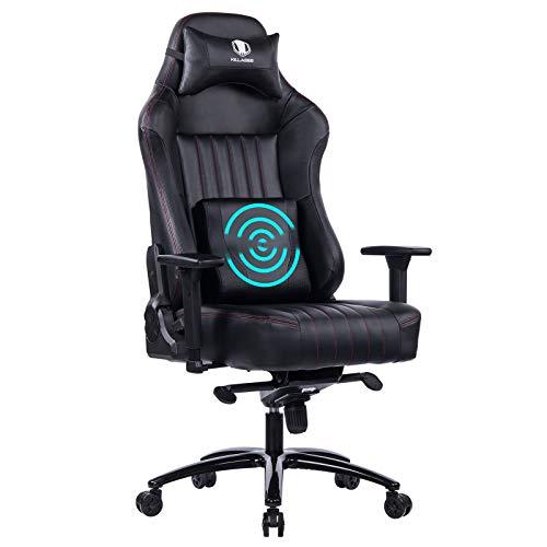 KILLABEE Big and Tall 400lb Memory Foam Gaming Chair-Adjustable Tilt, Angle and 3D Arms Ergonomic High-Back Leather Racing Executive Computer Desk Office Metal Base (Black)