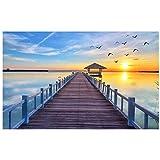 Sonnenuntergang am meer holzbrücke landschaft wandbild-benutzerdefinierte 3d fototapeten wohnkultur 3d wandbilder tapete für wand 3 d 280 cm B x 230 cm H