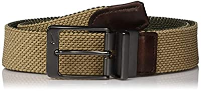 Nike Men's Reversible G-Flex Woven Stretch Golf Belt, Cargo Khaki/Khaki, Large