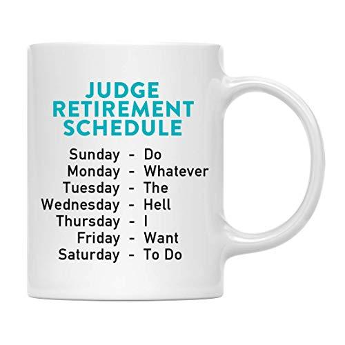Regalo Divertido de la mordaza de la Taza de café de la jubilación, horario de jubilación del Juez, Ideas de Navidad de la Familia del Jefe del compañero