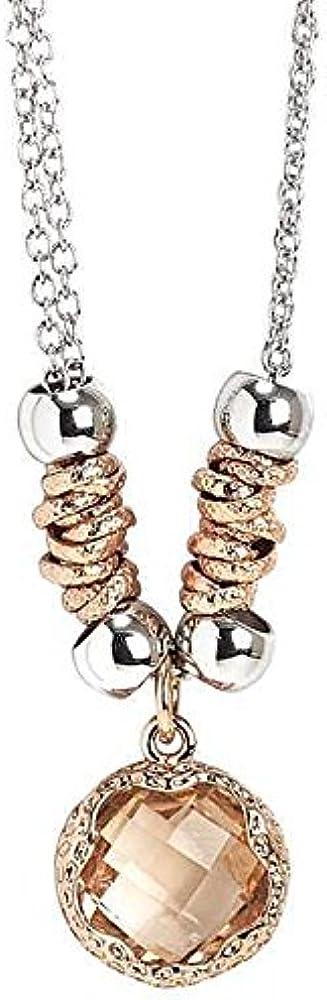 Boccadamo, collana doppio filo in bronzo rodiato con cristallo sfaccettato , per donna XGR330PRS