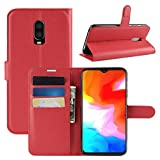 HualuBro Coque OnePlus 6T, Etui Housse à Rabat en PU Cuir Flip Leather Case Cover Antichoc...