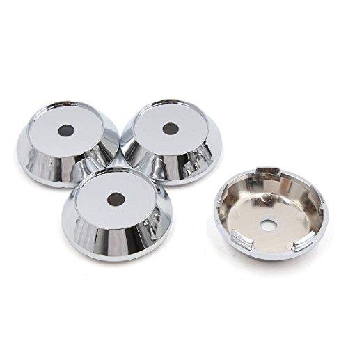 sourcingmap 4 Pcs Chrome Ton Argent 65mm Diamètre 5 Lugs Jantes Voiture Centre Cap Couvercle moyeu