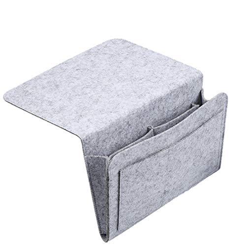 Nifogo Förvaringsficka för säng, hängande organiseringsväska, snygg ficka för säng, 5-fickarrangör – hängande väska för TV-fjärrkontroll, bok, telefon – perfekt för stuga eller våningssängar eller soffa (ljusgrå)