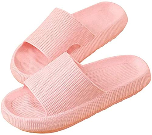 HHYSPA Non-Slip Shower Sandals with Thick Sole Ultra-Soft Slippers,Thick-Soled Home Comfy, Unisex Slippers for Women/Men Non-Slip Ultralight Flat Soft Sandals (Pink,36/37)