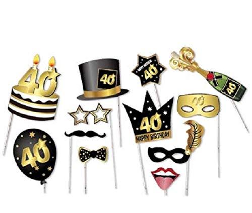 ACCESSORI PER FOTO PARTY 40 anni 12 pz - Festa 40° Compleanno