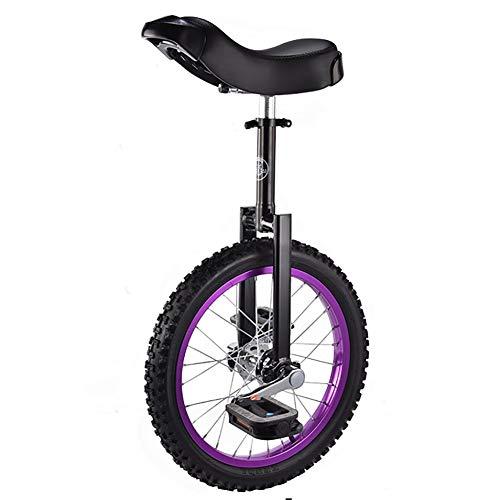 SSZY Einrad 16-Zoll-Rad Farbiges Einrad für Kinder Anfänger (12 Jahre Alt), mit Alufelgensitz, Höhenverstellbarem Balance-Radfahren, Geschenk An Jungen (Color : Purple)