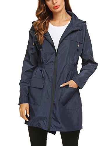ZHENWEI Womens' Waterproof Lightweight Raincoat Hooded Outdoor Hiking Long Rain Jacket