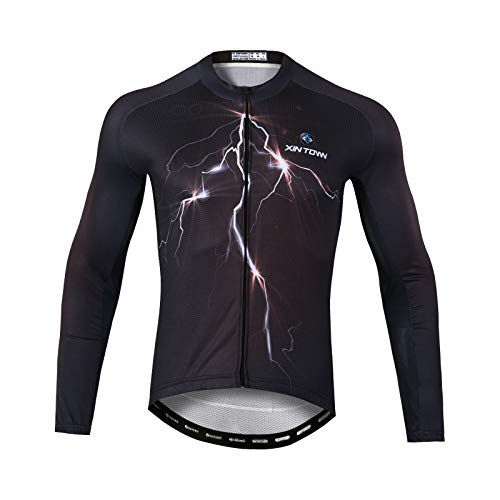 GRTE Maillot De Ciclismo para Hombre, Patrones Personalizados De Manga Larga Camisetas Mountain Bike Quick Dry Transpirable MTB Top Bicycle...