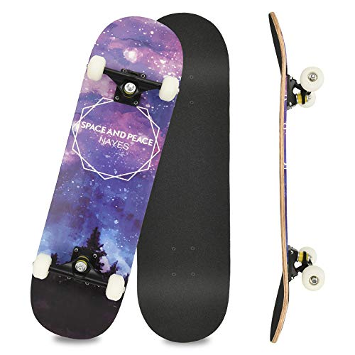 Komplettboard Skateboard 31x8 Zoll Cruiser Skateboard für Kinder Jugendliche Erwachsene, 7-Lagiger Kanadischer Double Kick Deck (Blue)