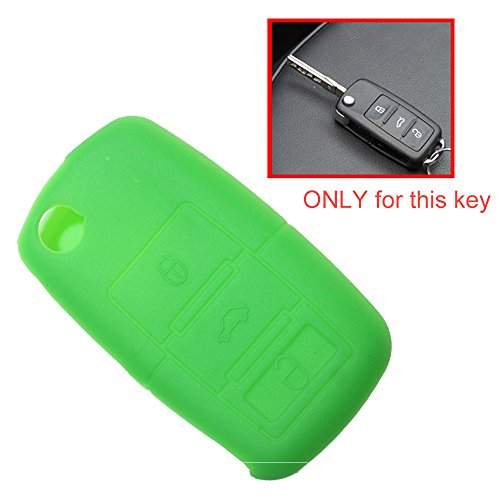 Tuqiang® 1 coque de clé pliante à 3 boutons en silicone pour VW Golf Polo Touran Passat Vert