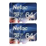 Netac microSD 64GB 2枚セット microSDXC UHS-I 最大100MB/s V30 U3 A1 C10 Full HD Nintendo Switch対応 メーカー正規品認証 - P50064X2