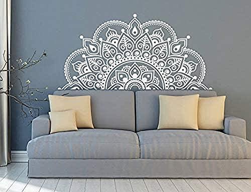 Vinyl väggdekor halv mandala väggmålning yoga älskare gåva hem säng dekoration halv mandala design bilfönster klistermärke 129x63cm stor storlek