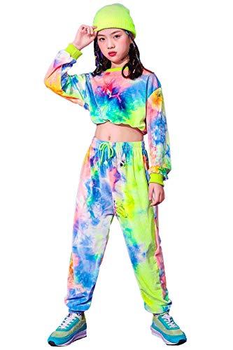 LOLANTA Pantaloni Felpa Tie-Dye per Ragazze,Costume da Ballo di Strada, Set di Abbigliamento per Bambini in Velluto(11-12 Anni,Dimensione del Tag 160)