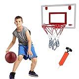 Juego de aro y red de baloncesto para niños, juego de mini aro de baloncesto con inflador de tablero, juguetes portátiles para deportes al aire libre en interiores para niños Deportes en interiores
