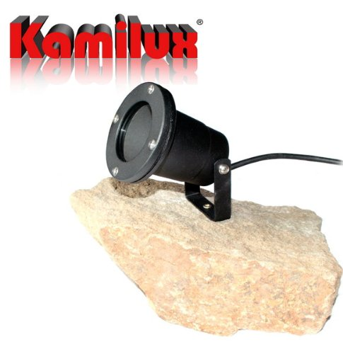 Kamilux GmbH 230V LED 5Watt = 50Watt in warm-Weiss, Aussenspot Gartenbeleuchtung Teichstrahler Piso inkl. Leuchtmittel