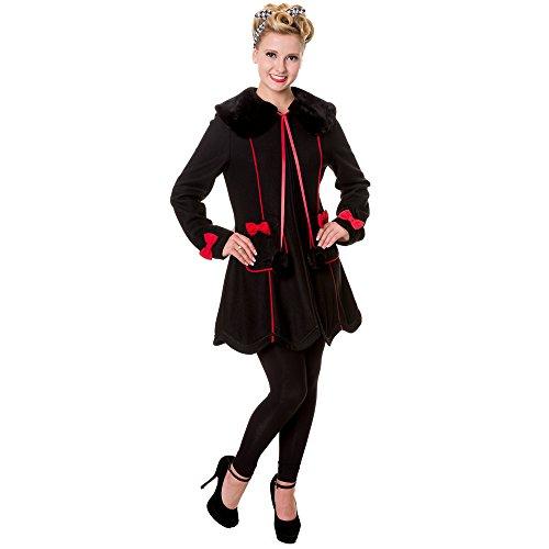 Banned Damen Retro Mantel Wollmantel mit Schleifen und Kunstfellkragen - Bows Coat Schwarz (L)