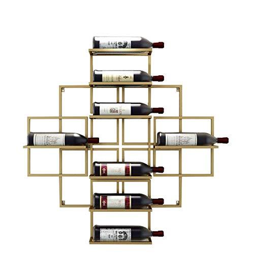 GUOCAO Botellero en la pared para colgar vinos, estante de metal de hierro de almacenamiento, equipo de estilo vintage, estante de vino, estante de vino