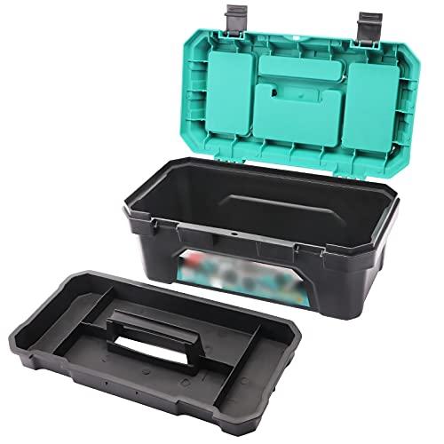 hongbanlemp Caja de herramientas de plástico con bandeja extraíble y amplia capacidad de almacenamiento, organizador de hardware con asa organizador multifunción duradero (tamaño: 14 pulgadas)