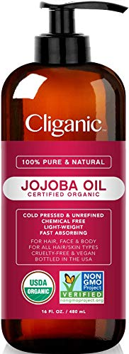 USDA Organic Jojoba Oil 16 oz with Pump, 100% Pure   Bulk, Natural Cold Pressed Unrefined Hexane Free Oil for Hair & Face   Base Carrier Oil - Certified Organic